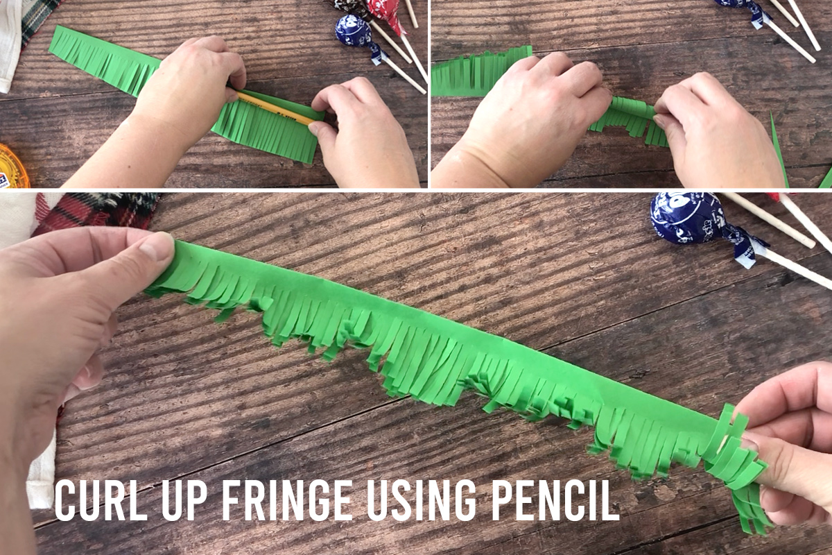 How to make Christmas tree sucker: curl paper fringe