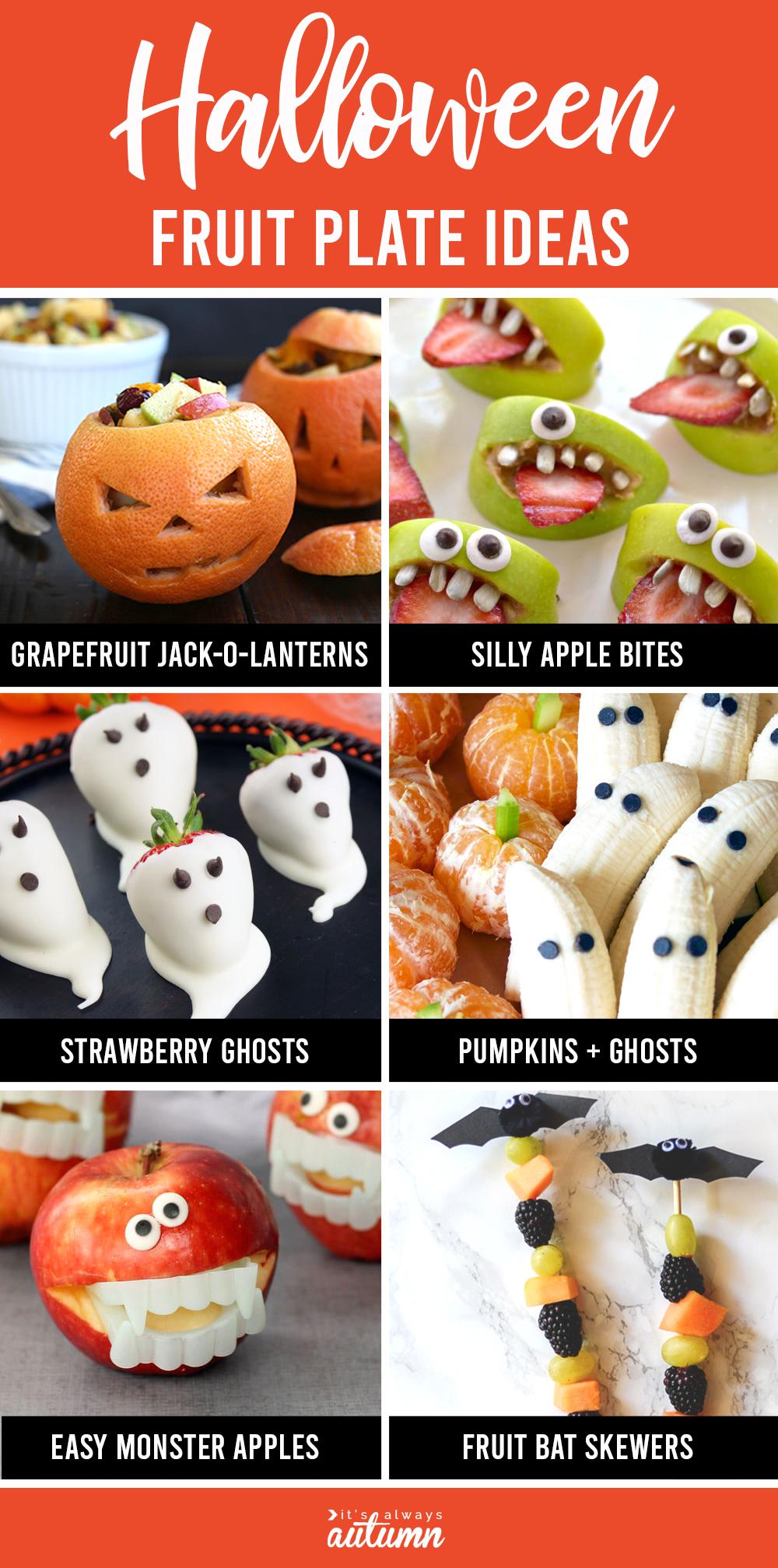 Healthy Halloween fruit plates