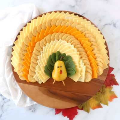 Easy Thanksgiving Cheese Board [shaped like a turkey!]