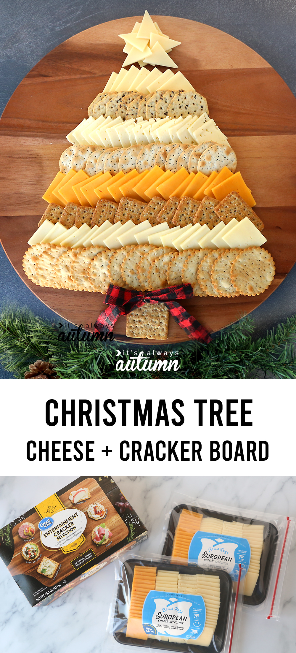 This Christmas Tree Cheese Board is the perfect appetizer for your holiday party! Cheese and crackers arranged like an adorable Christmas tree.