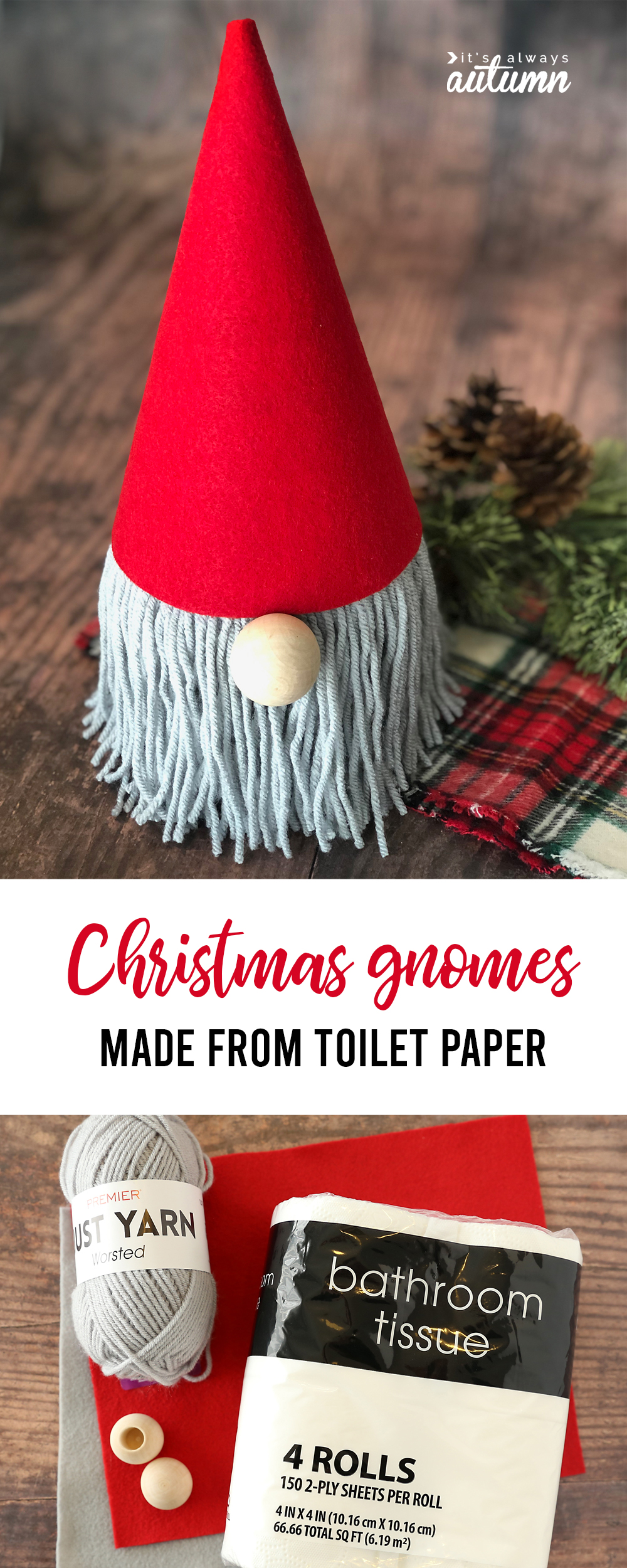 These adorable Christmas gnomes are made from a roll of toilet paper! Easy Christmas craft.