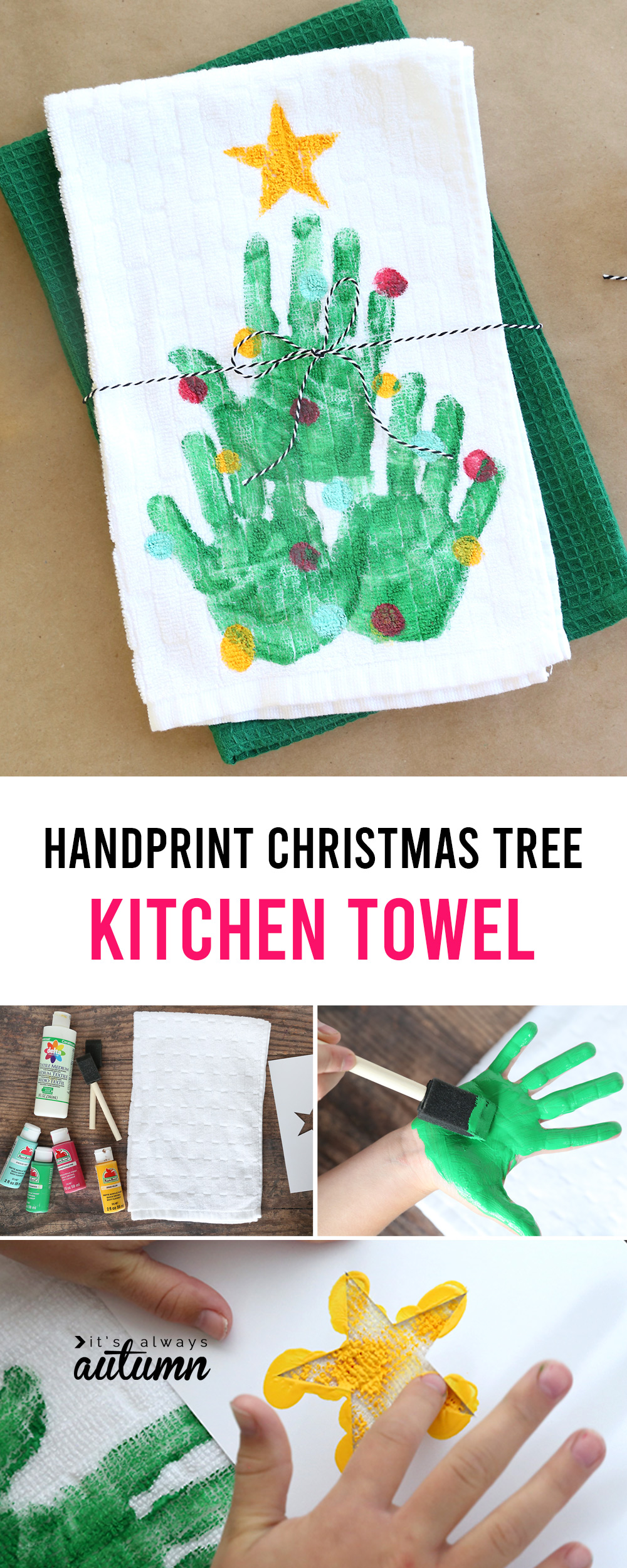 Cute idea! Make a handprint Christmas tree kitchen towel - fun homemade Christmas gift idea.