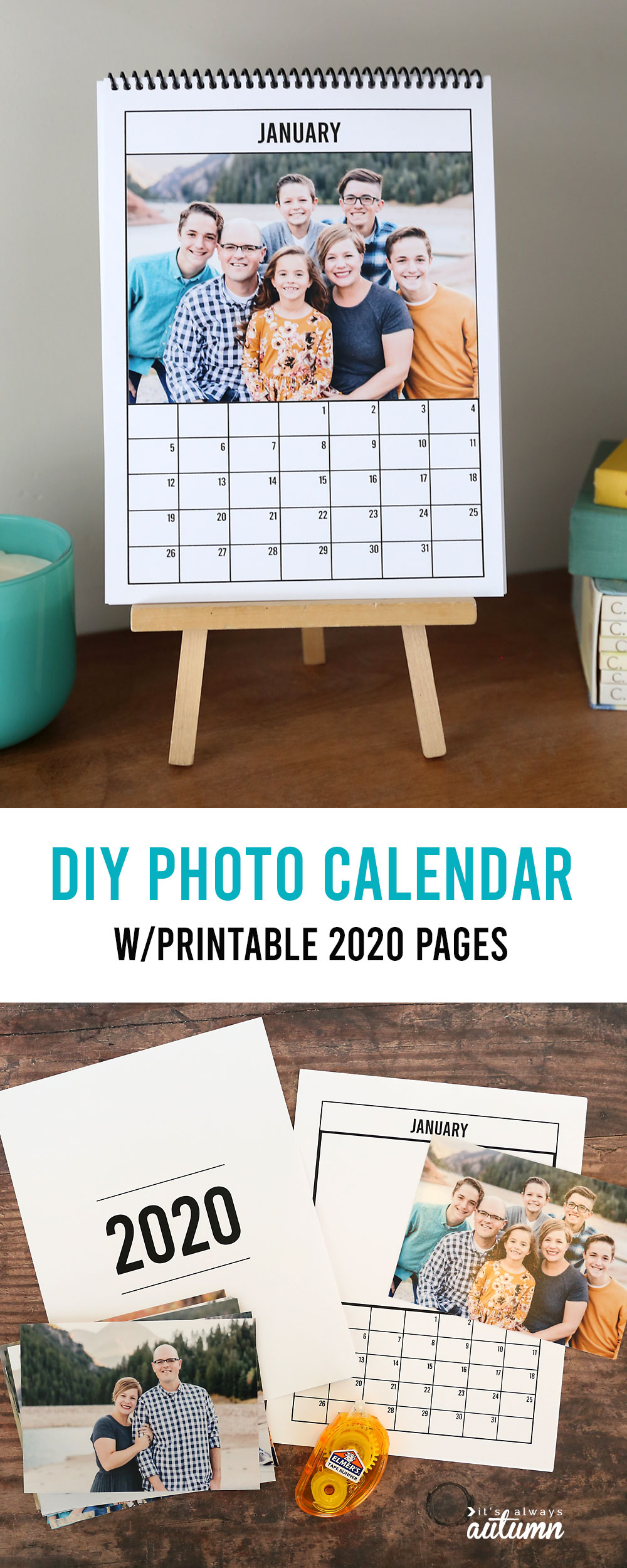 This printable 2020 photo calendar makes a great homemade gift!