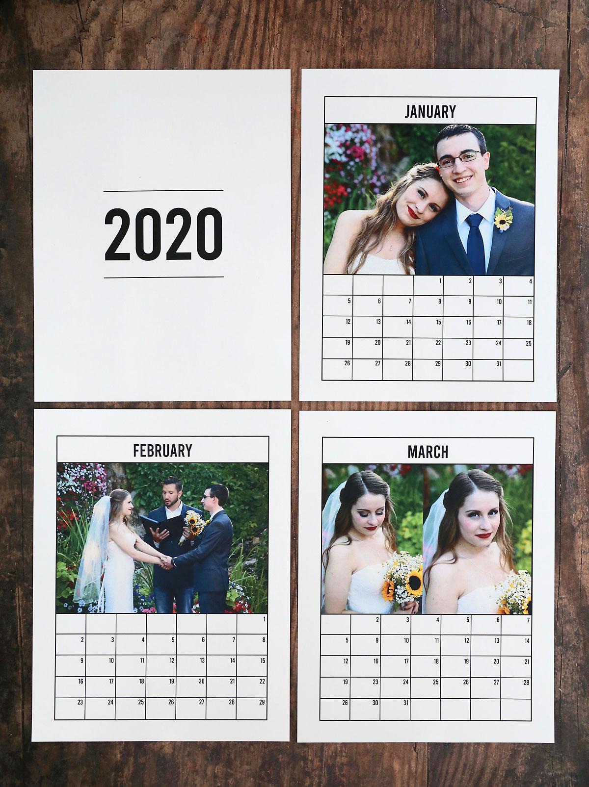 2020 photo calendar: Jan, Feb, and Mar