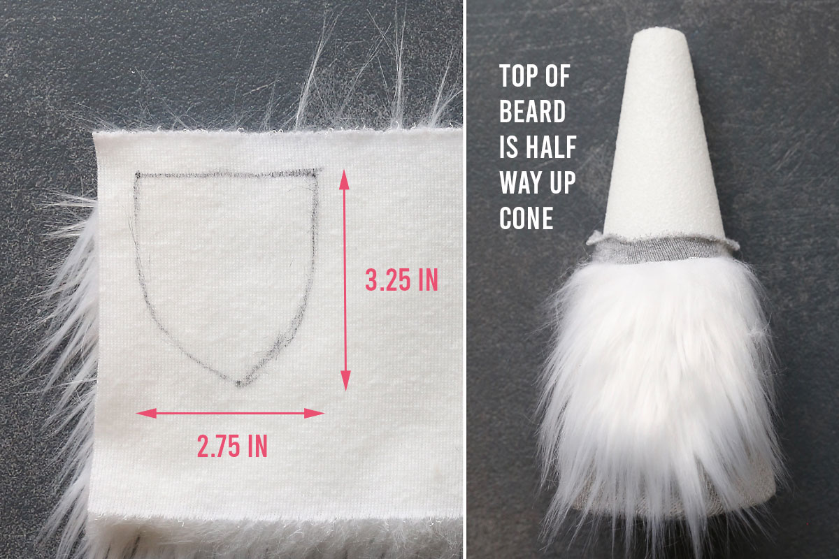 How to make a sock gnome: cut the beard from faux fur