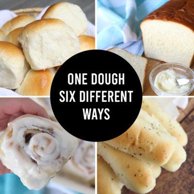 One Basic Bread Dough + SIX VARIATIONS (rolls, breadsticks, cinnamon rolls, etc)!