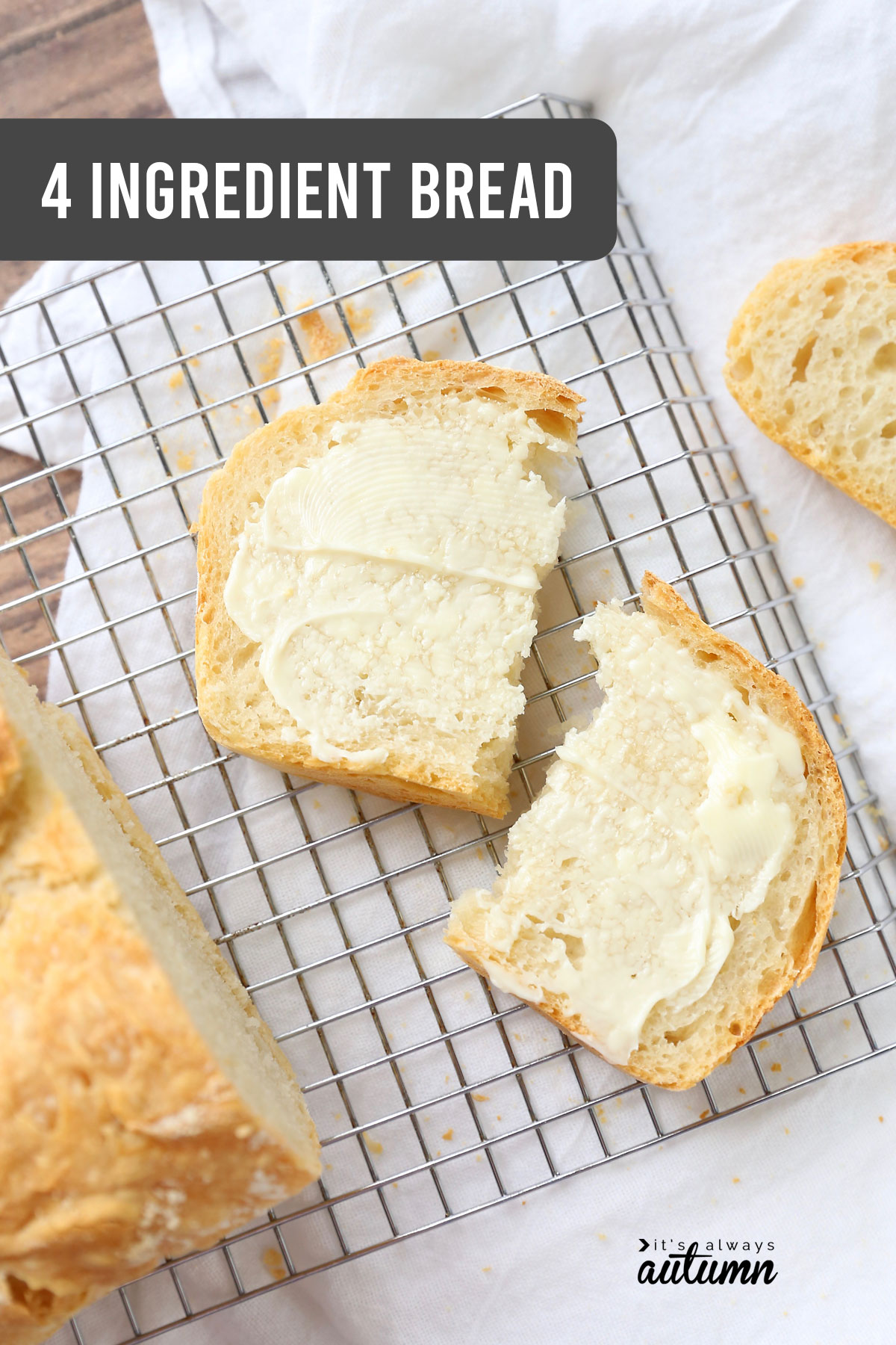 This easy bread recipe only require flour, salt, yeast, and water! All you have to do is stir, rise, and bake.