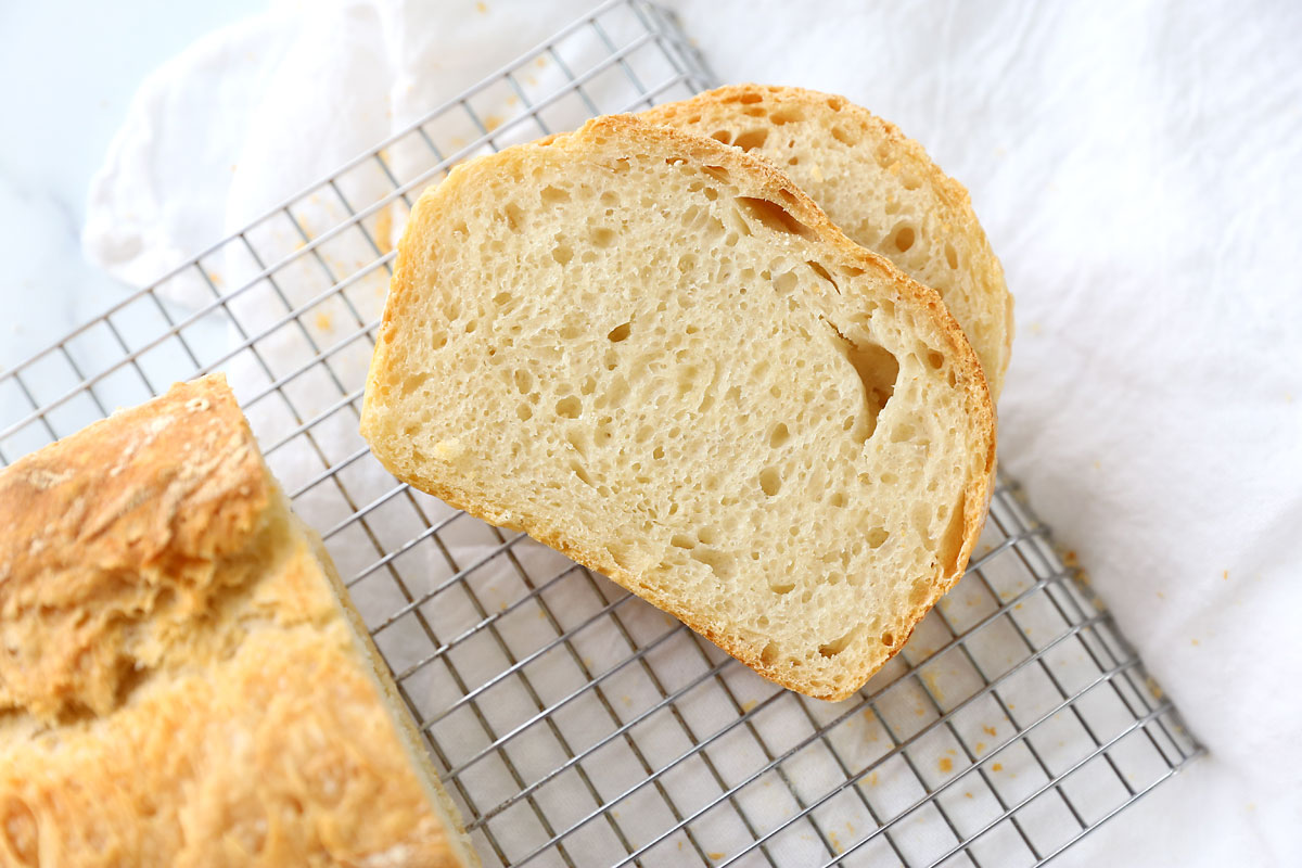 Easy bread recipe makes a chewy bread with lots of holes