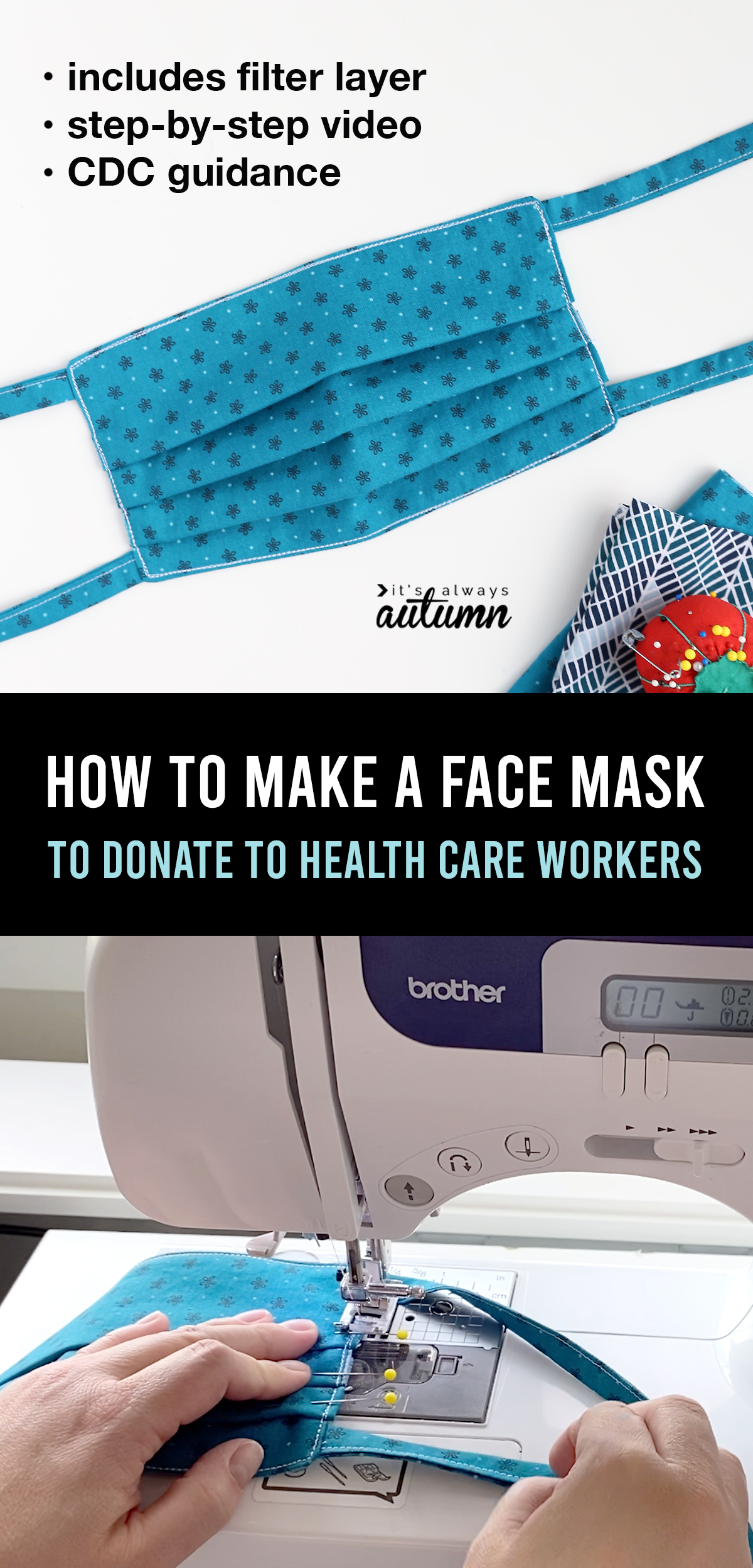 Step by step video instructions for how to make a face mask so you can help with the shortage of protective equipment for health care workers