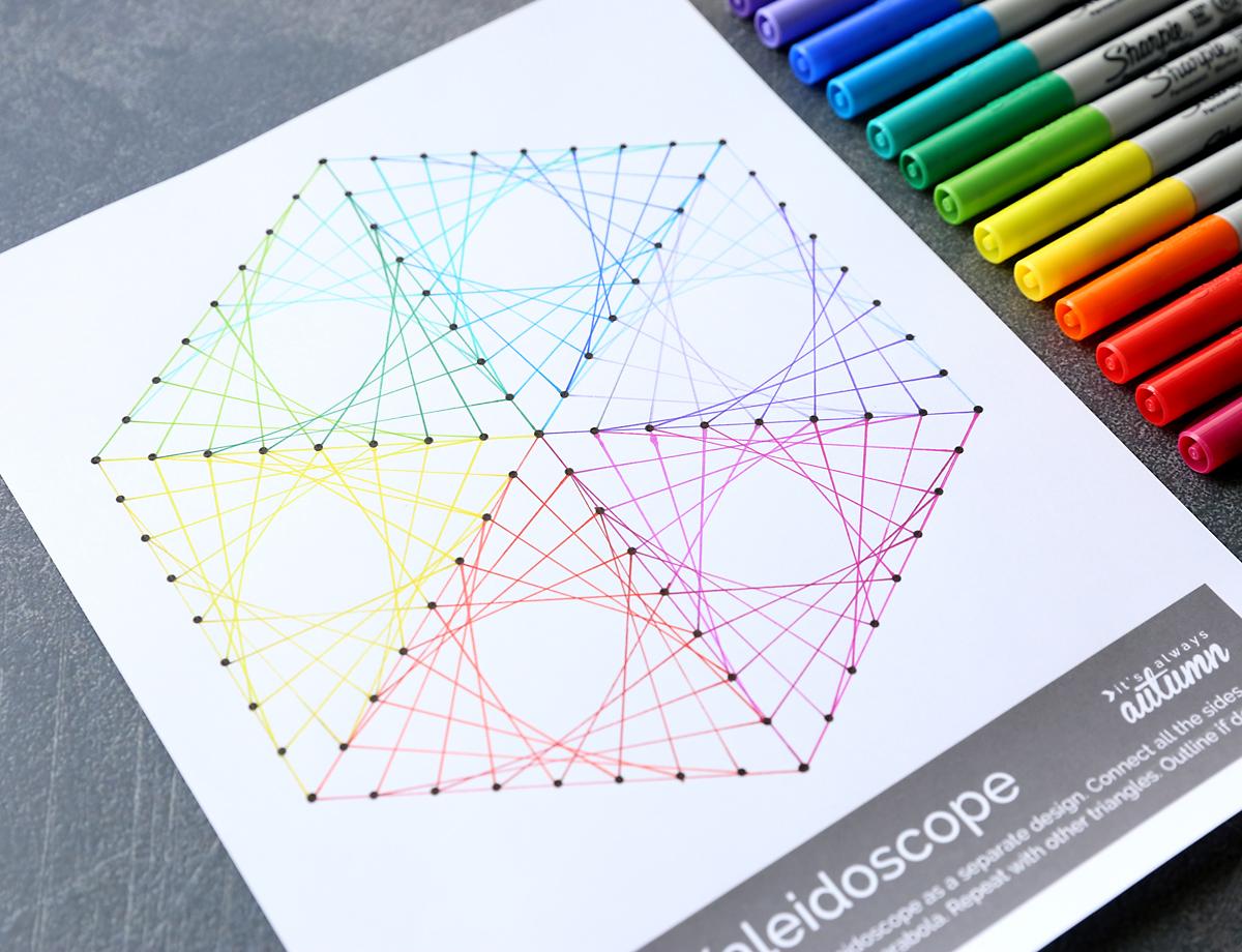 Geometric line art worksheets for kids - easy art