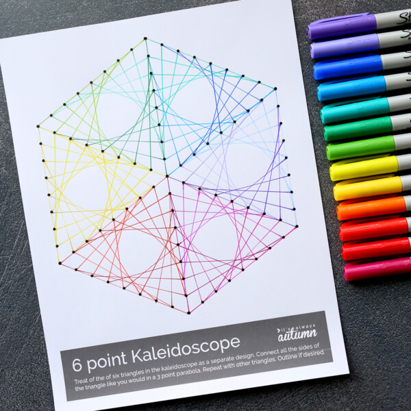 Printable line art template filled in with different colors and colored Sharpie pens