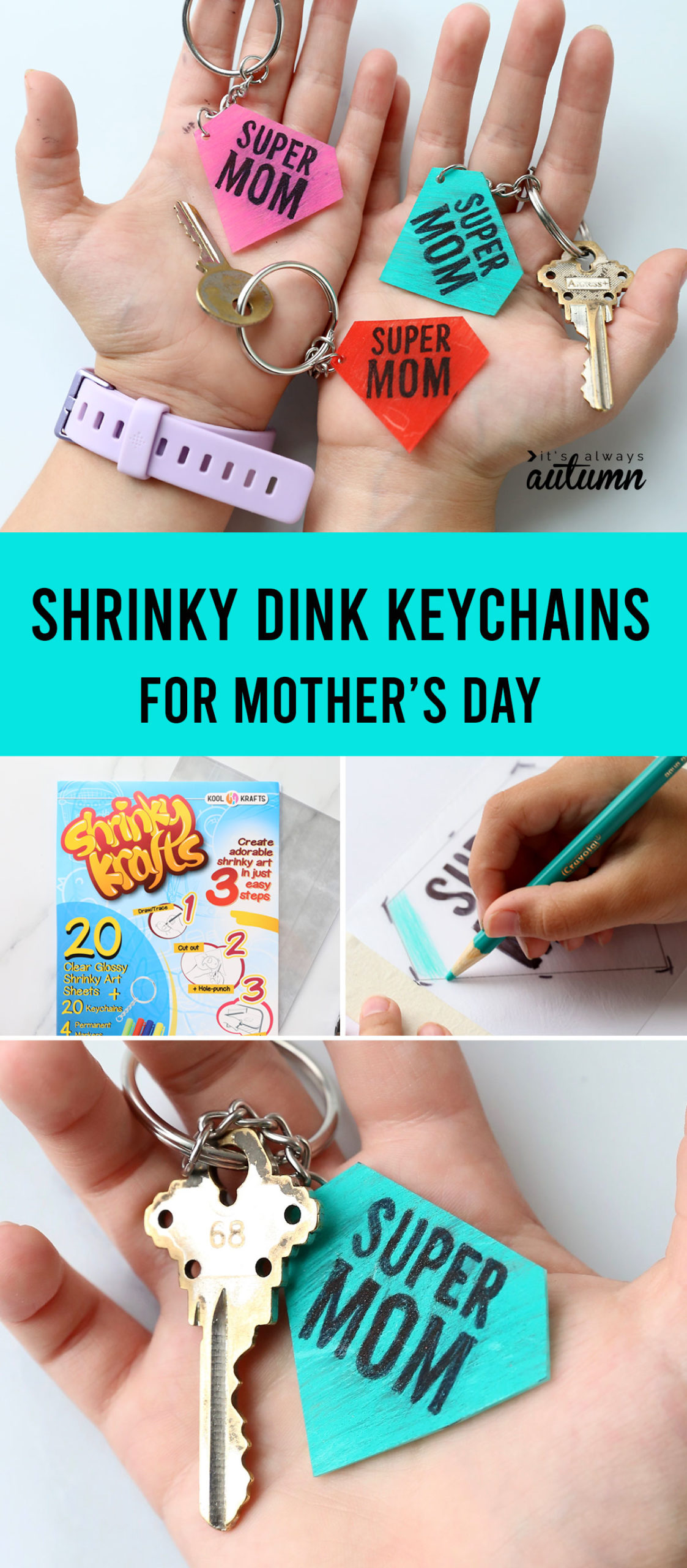 Shrinky dink keychains are an adorable DIY gift for Mother's Day!