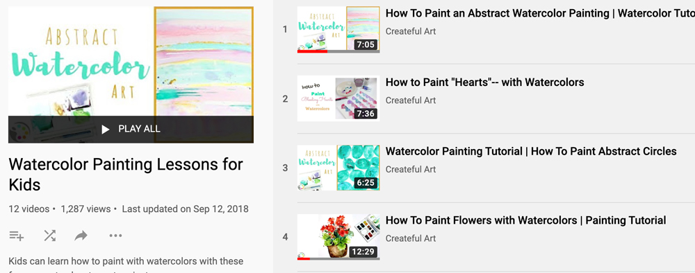 Free online watercolor class for kids
