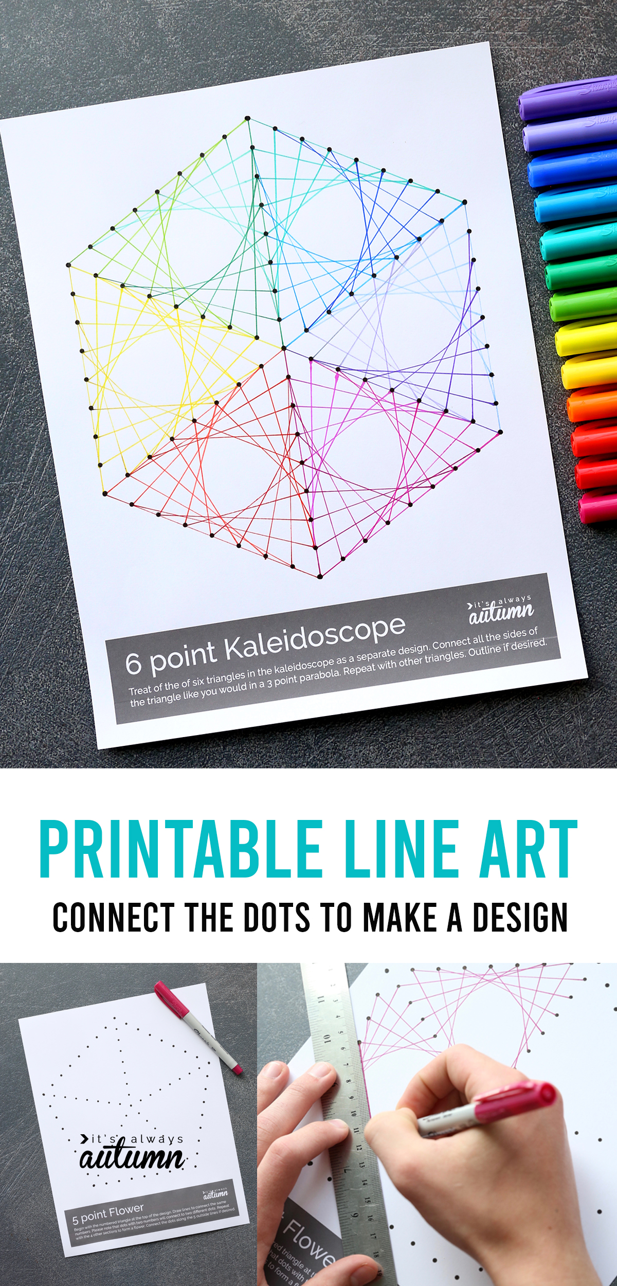 If you're looking for something to keep your kids busy, print out these geometric line art worksheets! Just by connecting the dots kids can create beautiful line art. Click through for all five designs.