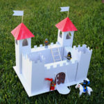 Learn how to make a play castle from cardstock or cardboard with this free printable castle template.
