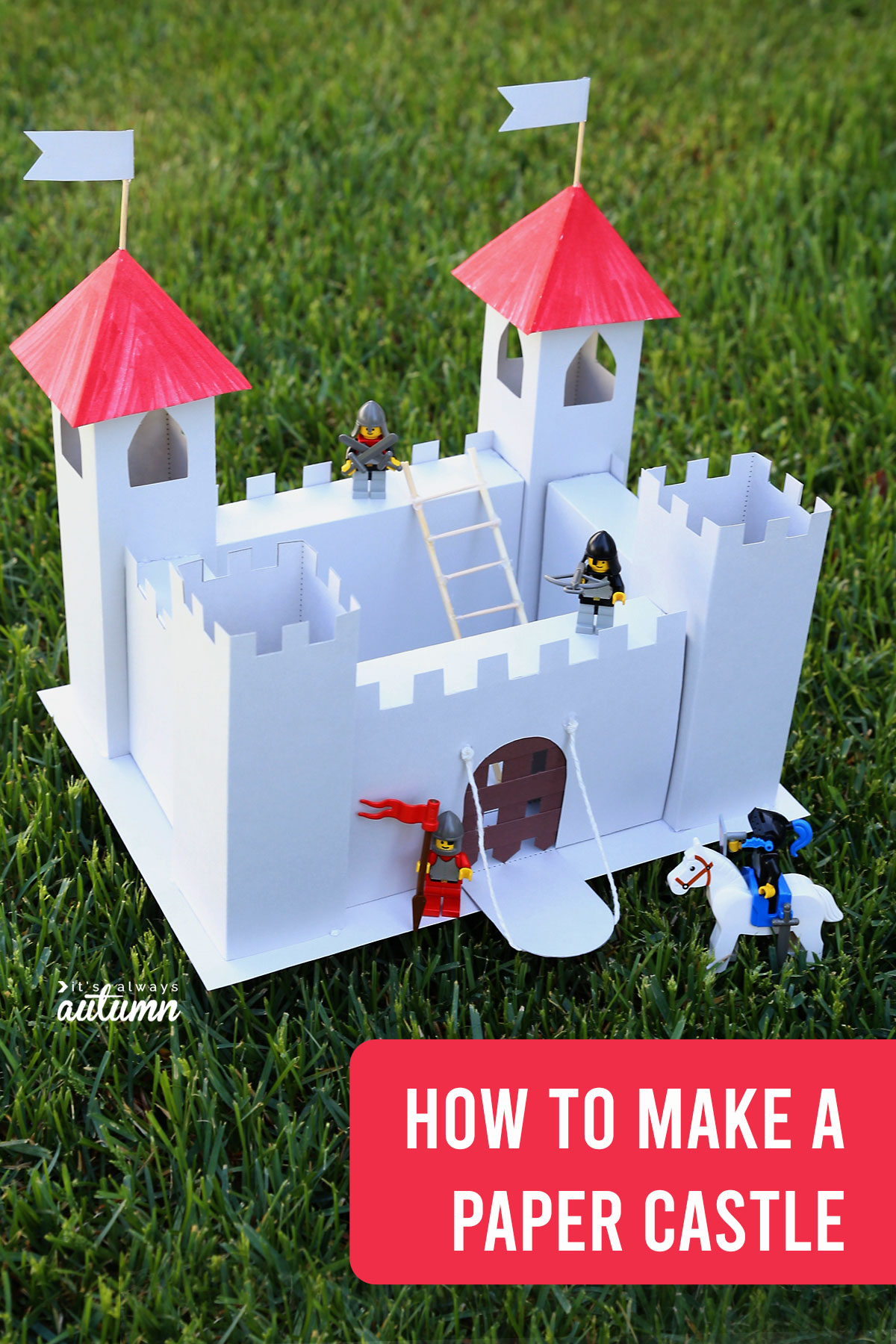 Learn how to make a toy castle out of cardboard or cardboard with this free printable castle template.