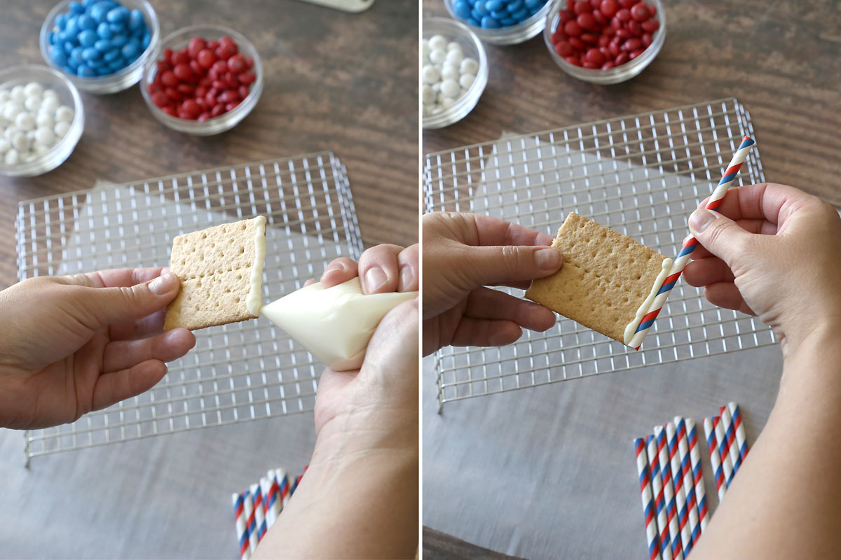Graham cracked flags: melted white chocolate