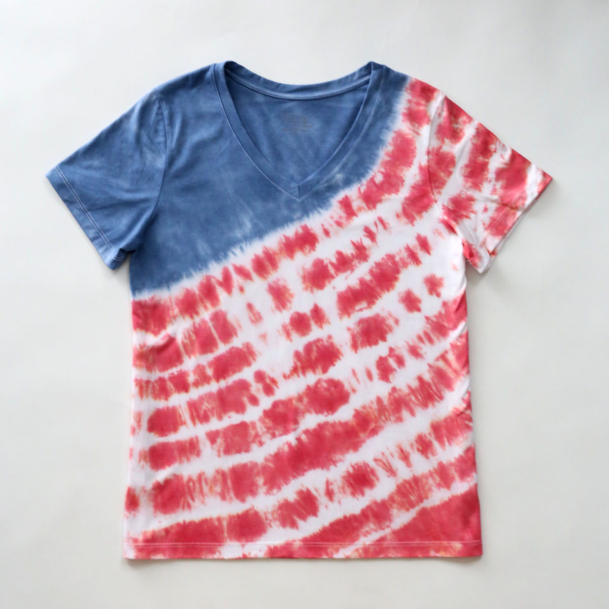DIY red, white and blue tie color shirt for the fourth of July