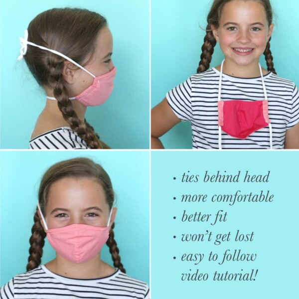 A girl wearing a face mask that ties behind the head