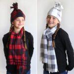 Girls wearing DIY fleece hat and matching scarf