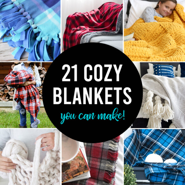 21 cozy blankets you can make; collage photo of 8 different blankets