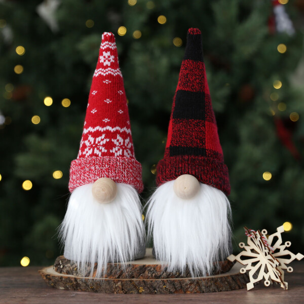 Two gnomes made from patterned Christmas socks