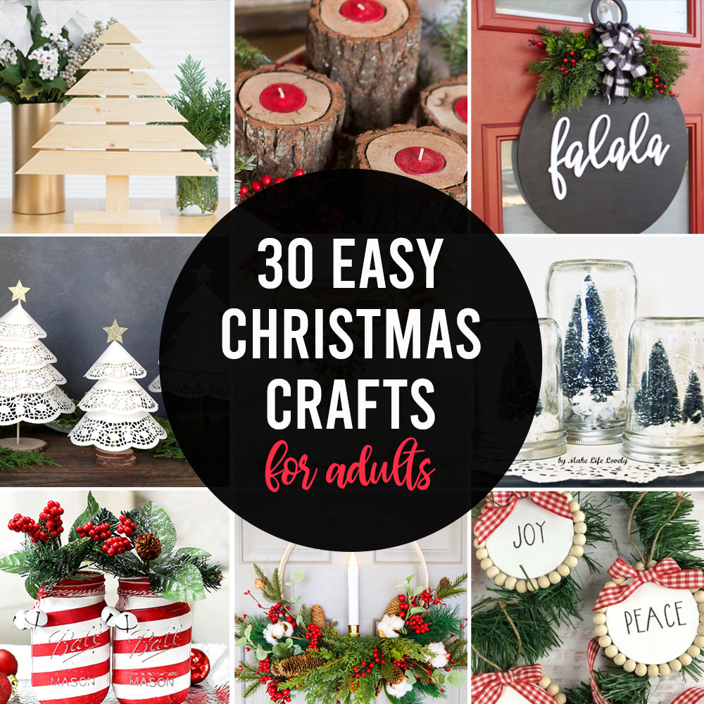 collage of Christmas craft projects for adults