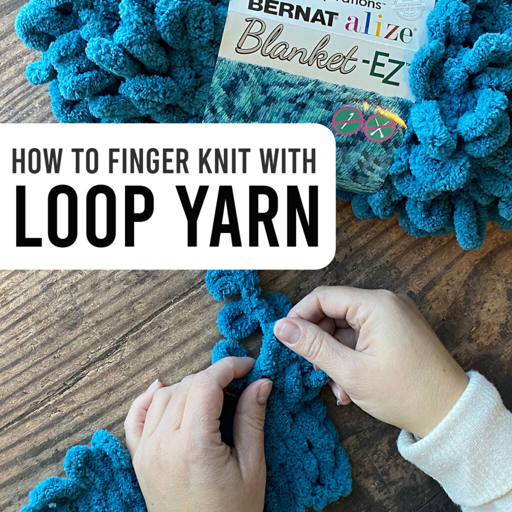Hands knitting with turquoise loop yarn
