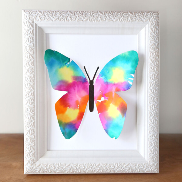 Colorful butterfly made of paper in a white picture frame