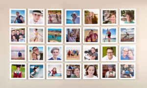 Collage of square family photos framed in white