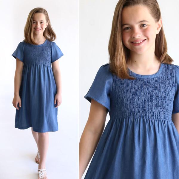 Girl wearing smocked chambray dress