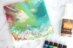 Acrylic paint pouring, Flood Floetrol, acrylic paints