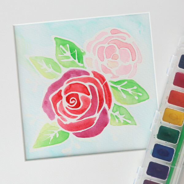 Floral watercolor resist painting with watercolor paints