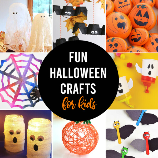 Collage photo of Halloween crafts for kids